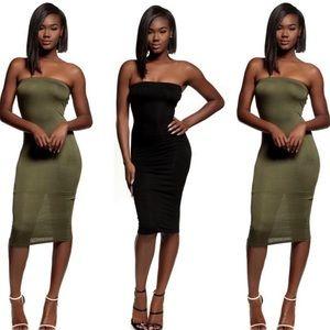 strapless contour dress